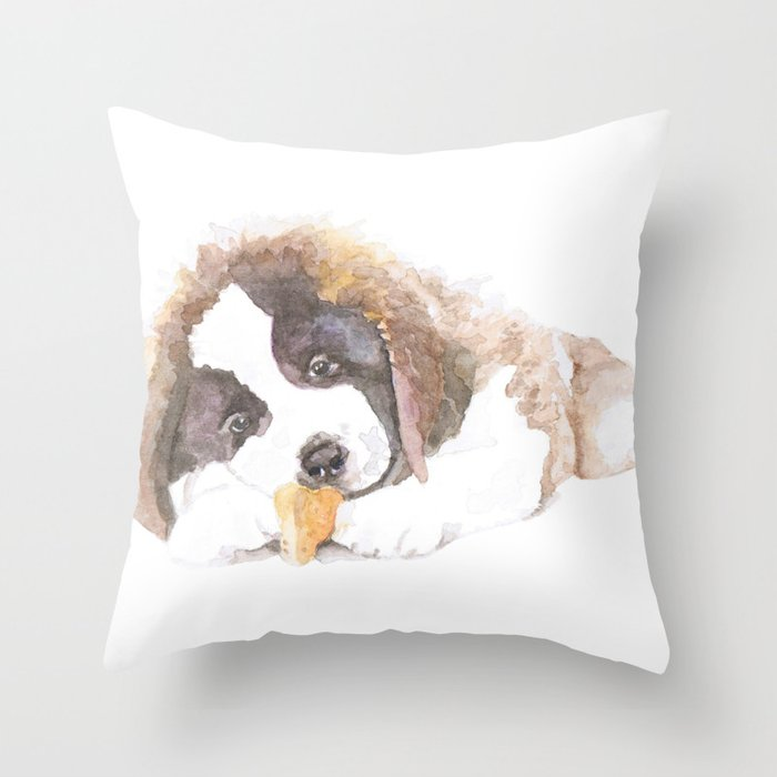 San Bernardo Puppy Throw Pillow
