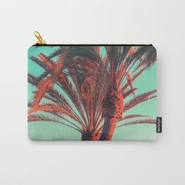 Paradise | modern pink turquoise tropical palm tree beach sea summer photography Carry-All Pouch
