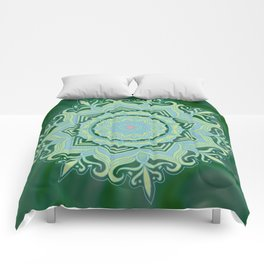 Green Swirl Mandala Comforters