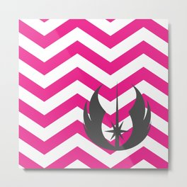 Jedi Order Chevrons in Hot Pink and Dark Gray Metal Print