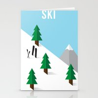 ski Stationery Cards featuring Ski by Andrew Spencer