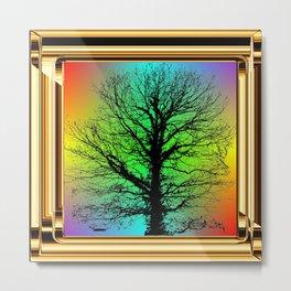 Black tree in Golden Frame. Metal Print