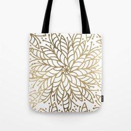 Elegant white faux gold floral trendy mandala Tote Bag