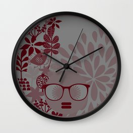 Afro Diva : Burgundy Sophisticated Lady  Wall Clock