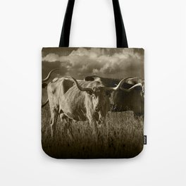 Sepia Tone of Texas Longhorn Steers under a Cloudy Sky Tote Bag