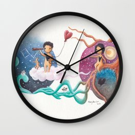 Boy on Cloud With Heart Balloon Leaving Girl and Penguin on Her Planet Wall Clock