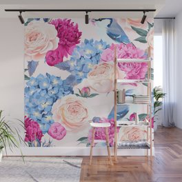 Magenta Periwinkle Pastel Rose With Blue Jays Wall Mural