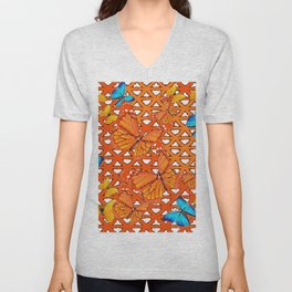 YELLOW BLUE ORANGE BUTTERFLY ABSTRACT WORLD Unisex V-Neck