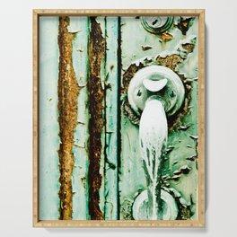Green Door Handle, Peeling Turquoise Paint, Rusty Door Serving Tray
