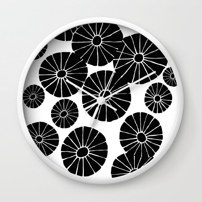 Abstract Hand Drawn Black and White Drawing by Emma Freeman Designs Wall Clock