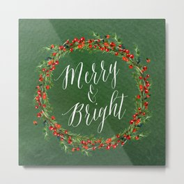 Merry & Bright - Green Metal Print