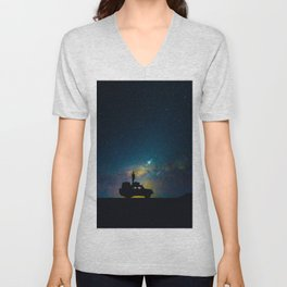 Australian Outback At Night Star Night Sky Milky Way Galaxy Colorful Unisex V-Neck
