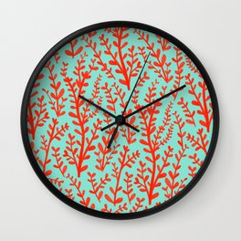 Mint Green and Red Floral Leaves Gouache Pattern Wall Clock