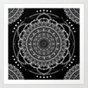 Black and White Geometric Mandala by geniewilson