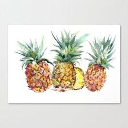 Pineapples, pineapple art design watercolor tropical HAwaiian kitchen art Canvas Print