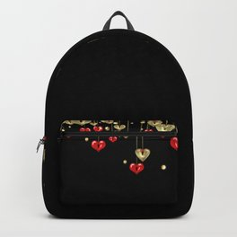 Beautiful glitter shine hearts on black Valentines Day greeting Backpack