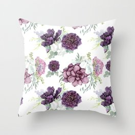 Succulents Deep Violet Lavender Pastel Green Lilac PatternSee Nature Magick for more pretty pastel c Throw Pillow