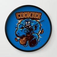 cookies Wall Clocks featuring Cookies! by WinterArtwork