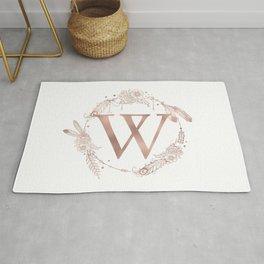 Letter W Rose Gold Pink Initial Monogram Rug