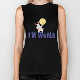I am World - City Night Funny Rabbit Dance Dabbing Biker Tank