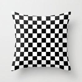black checkered pattern Throw Pillow