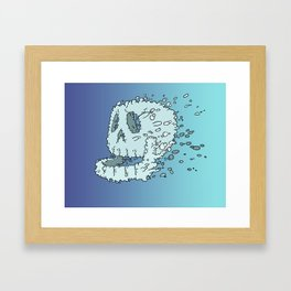 Bubble Skull - Beneath the waters surface lurks a skull in search of it's destiny Framed Art Print