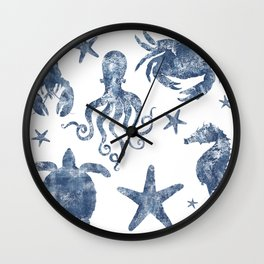 Delft Blue nautical Marine Life pattern, coastal beach Wall Clock