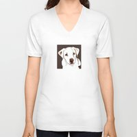 golden retriever V-neck T-shirts featuring Golden retriever by Pendientera