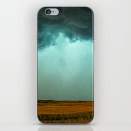 Open the Heavens - Panoramic Storm with Teal Hue in Northern Oklahoma iPhone Skin