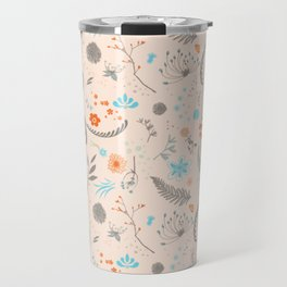 Floral Pattern with Flowers and Leaves Travel Mug