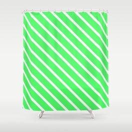 Mint Julep #1 Diagonal Stripes Shower Curtain