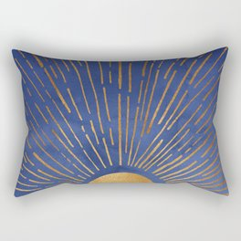 Twilight / Blue and Metallic Gold Palette Rectangular Pillow