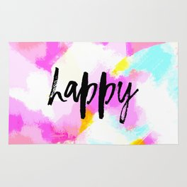 Happy - Bright neon pink abstract typography Rug