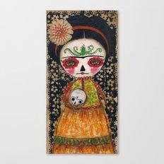 Frida The Catrina And The Skull - Dia De Los Muertos Mixed Media Art Canvas Print