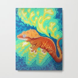 Red Crested Gecko Metal Print