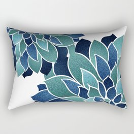Festive, Floral Prints, Navy Blue and Teal on White Rectangular Pillow