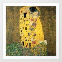 gustav klimt Art Prints featuring The Kiss - Gustav Klimt by BravuraMedia