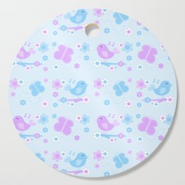 Chickadee Bird Butterfly Floral Purple Lavender Blue Cutting Board