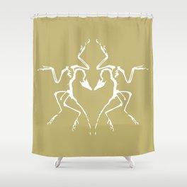 Dinosaur Fossil Ink Blot 2, Mustard Shower Curtain