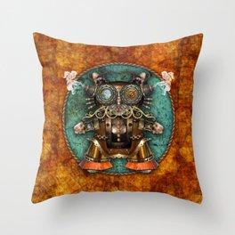 Cacotopia Steampunk Kitty - brass Throw Pillow
