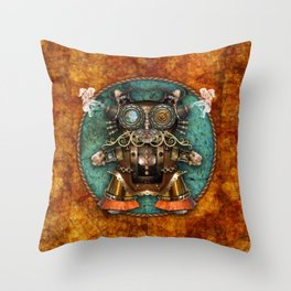 Cacotopia Steampunk Kitty - brass Throw Pillow