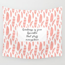 Bohemian Feathers Coral  Kindness is Free Wall Tapestry