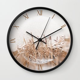 Typha reeds and frozen lake Wall Clock