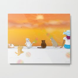 Cats and Sunrise Metal Print