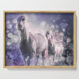 Blue Wild Horses Mixed Media Art Serving Tray