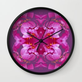 Geometric Flowery  Fuchsia-pink, greyish-Egg plant Purple-purple Floral Abstract Pattern Wall Clock