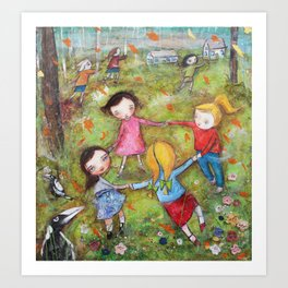 Autumn Mistral, playing ring-a-ring-a-rosie on a windy day Art Print
