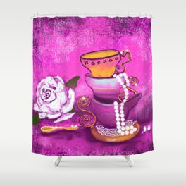 Cups and Pearls Shower Curtain