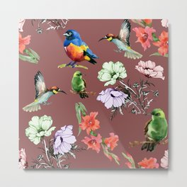 birds and flowers Metal Print