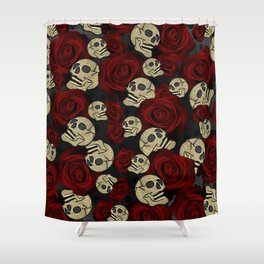 Red Roses & Skulls Grey Black Floral Gothic Shower Curtain